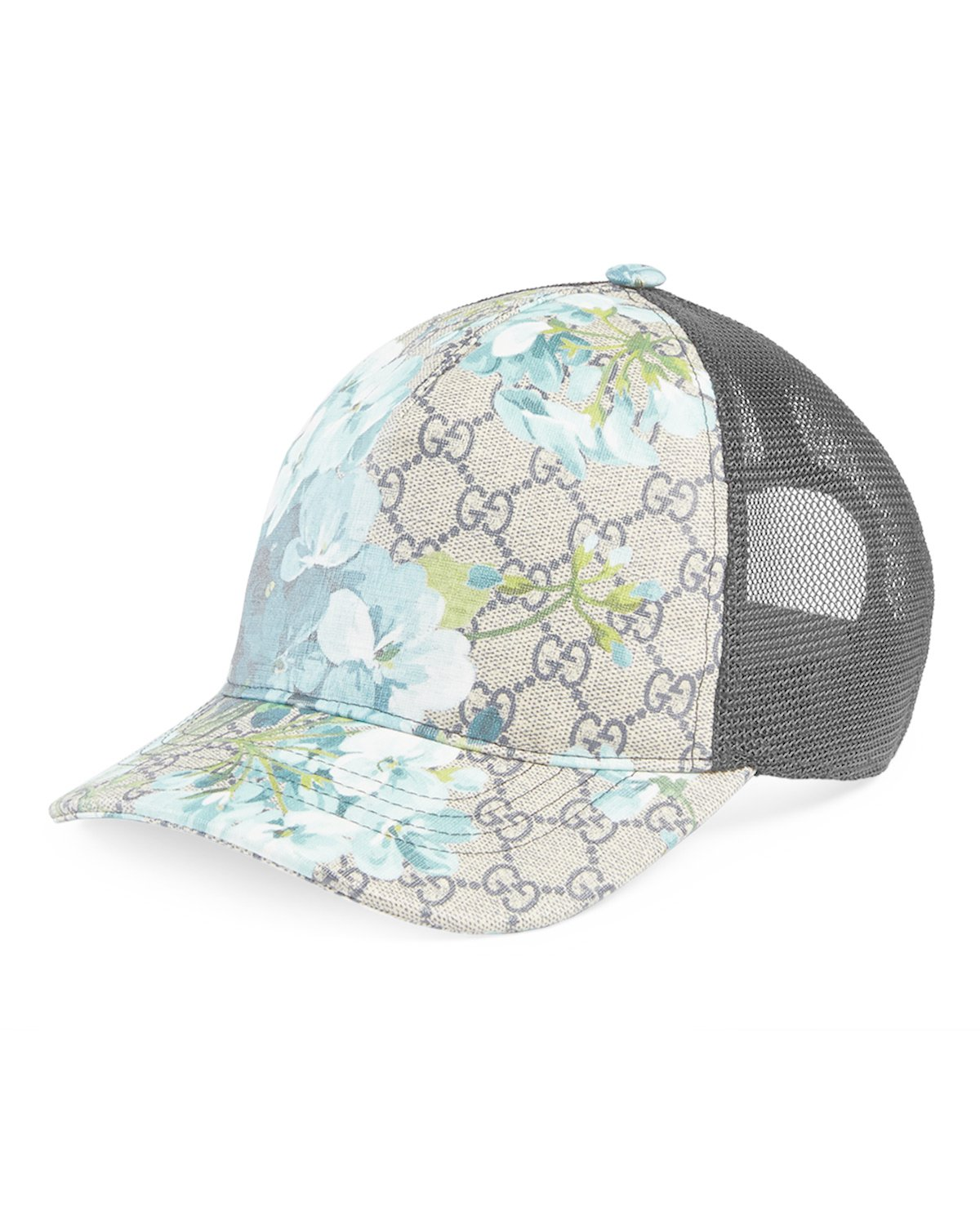 gucci gg mesh baseball hat in blue in brown lyst
