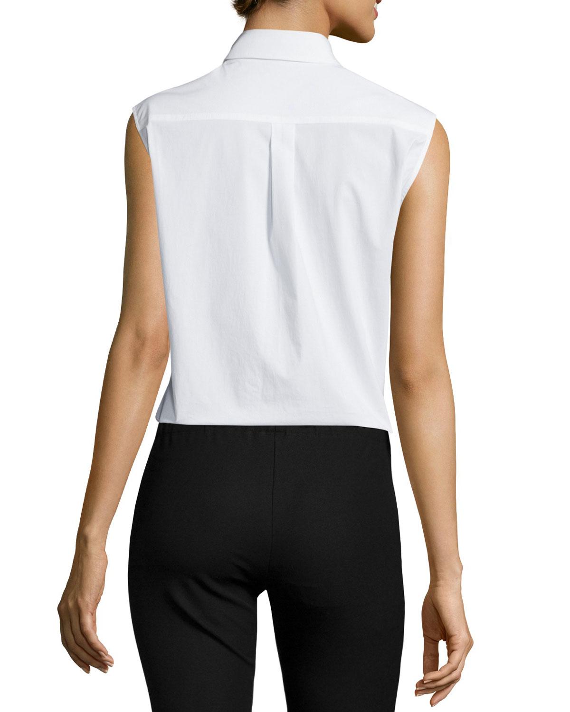 Joseph Sleeveless Collared Poplin Shirt In White Lyst