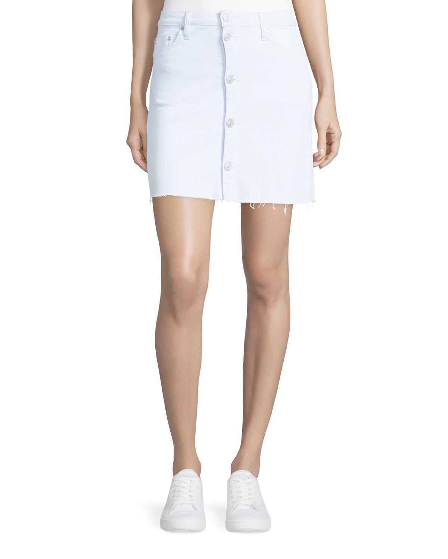 hudson cammy button front denim skirt in white lyst