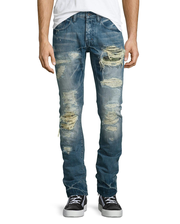Prps Demon Distressed Slim Denim Jeans in Blue for Men ... - photo#34