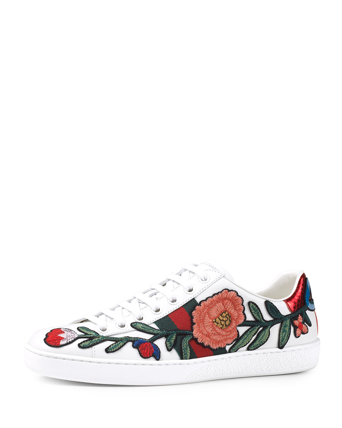 3f4394fa2 Gucci New Ace Floral-embroidered Leather Low-top Sneakers in White ...