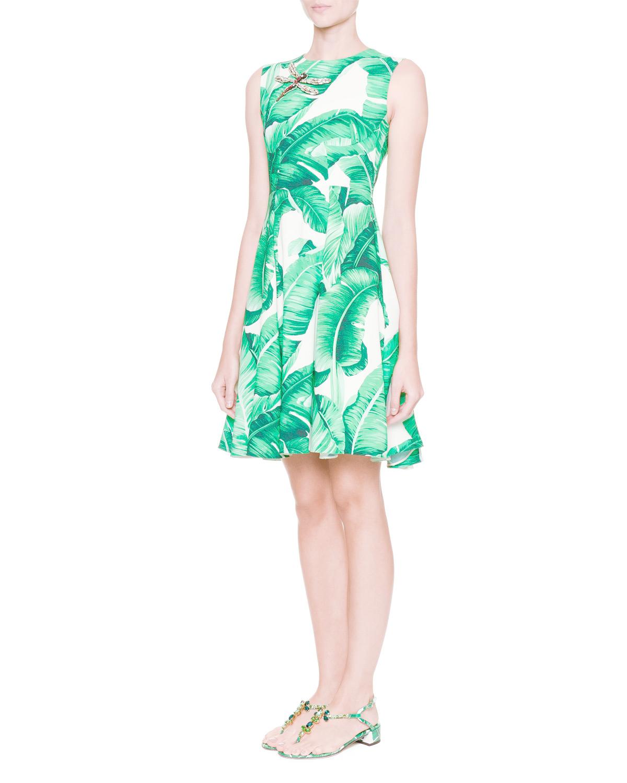 Dolce Amp Gabbana Sleeveless Banana Leaf Dress W Bee