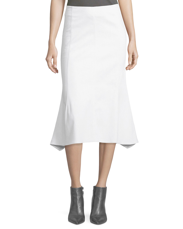 derek lam flared cotton blend midi skirt in white lyst