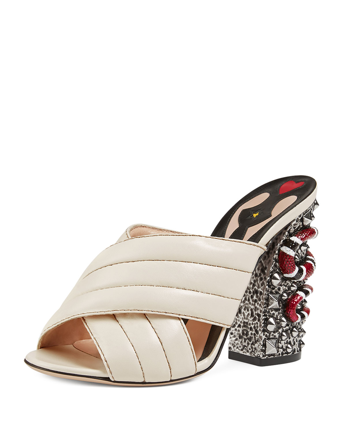 1147d69fad4 Lyst - Gucci Webby Quilted Leather Snake-heel Mule Sandal in Natural