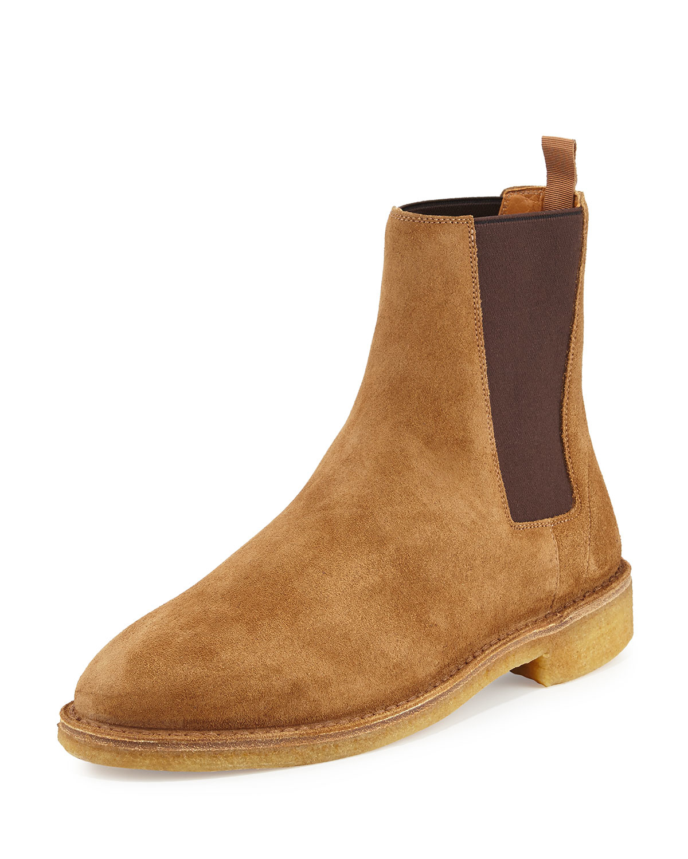 Saint Laurent Black Suede Crepe Sole Oran Chelsea Boots bRr2N0