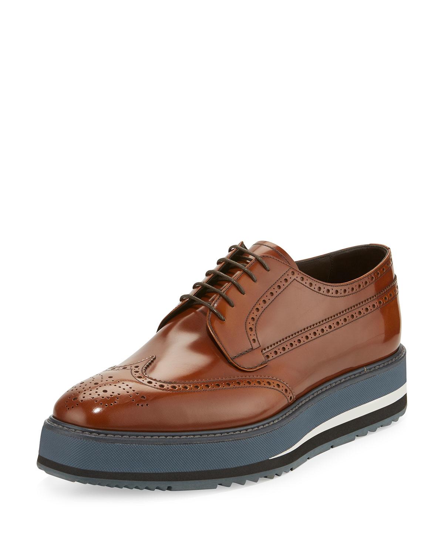 prada spazzolato creeper brogue platform shoe in brown for