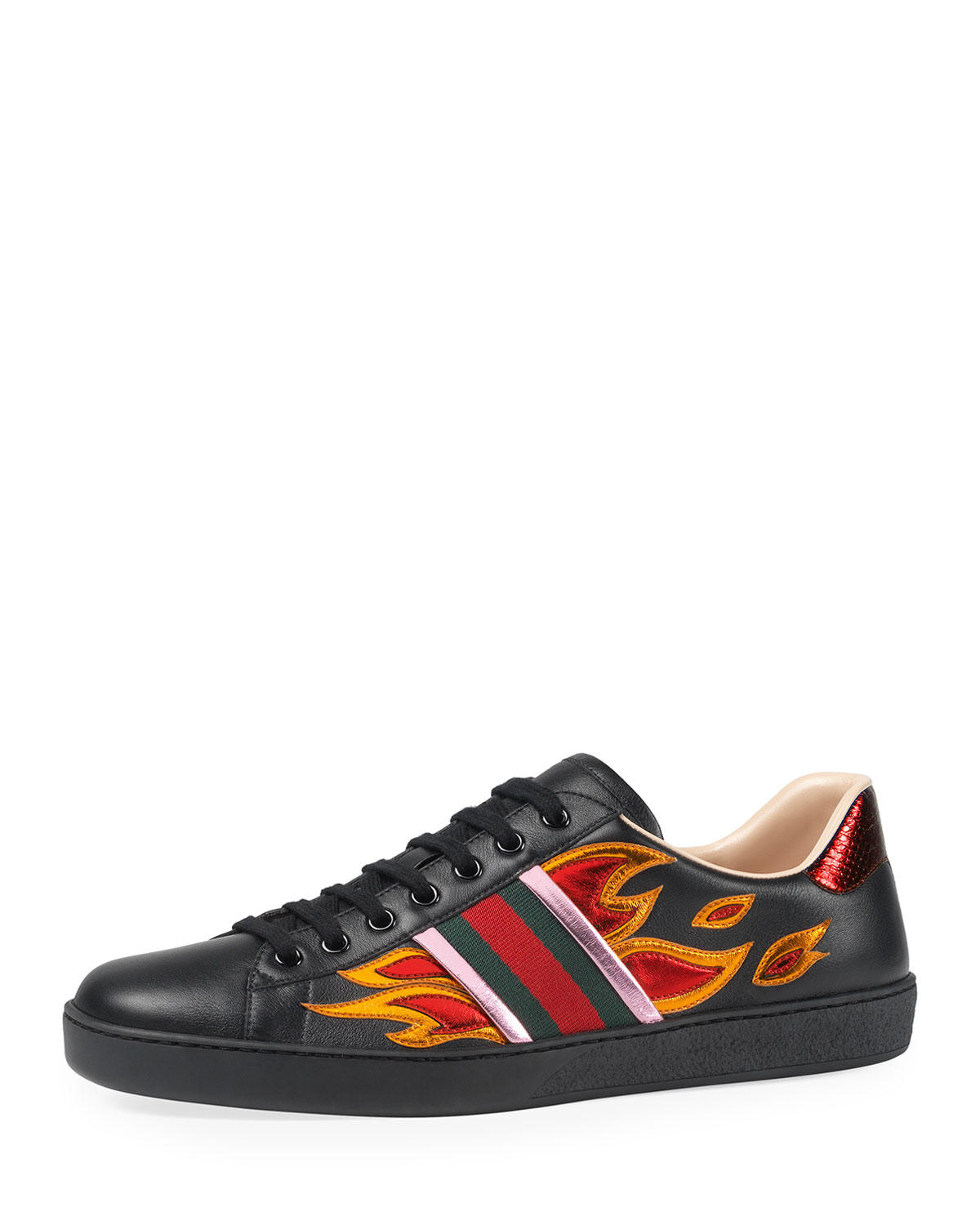 lyst gucci new ace flames leather low top sneaker in. Black Bedroom Furniture Sets. Home Design Ideas