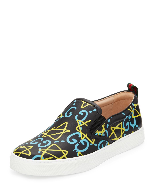 Gucci Dublin Ghost Leather Slip-on Sneaker in Black | Lyst
