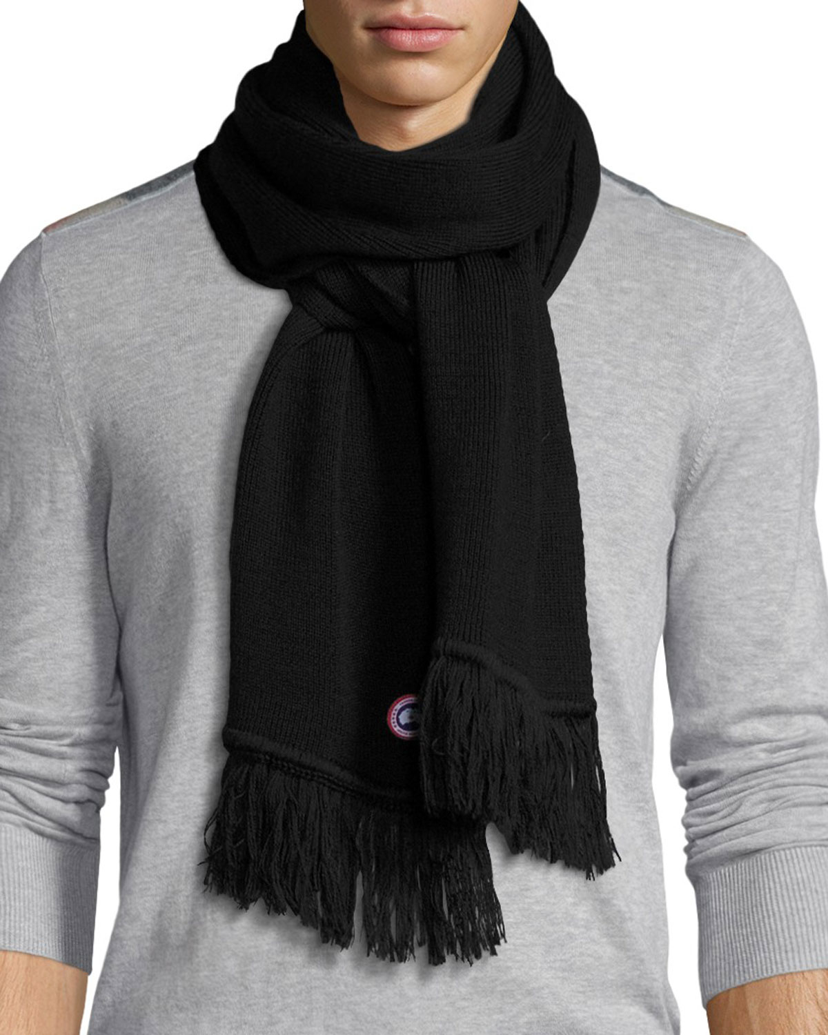 Canada Goose Men S Merino Wool Fringed Scarf In Blue For