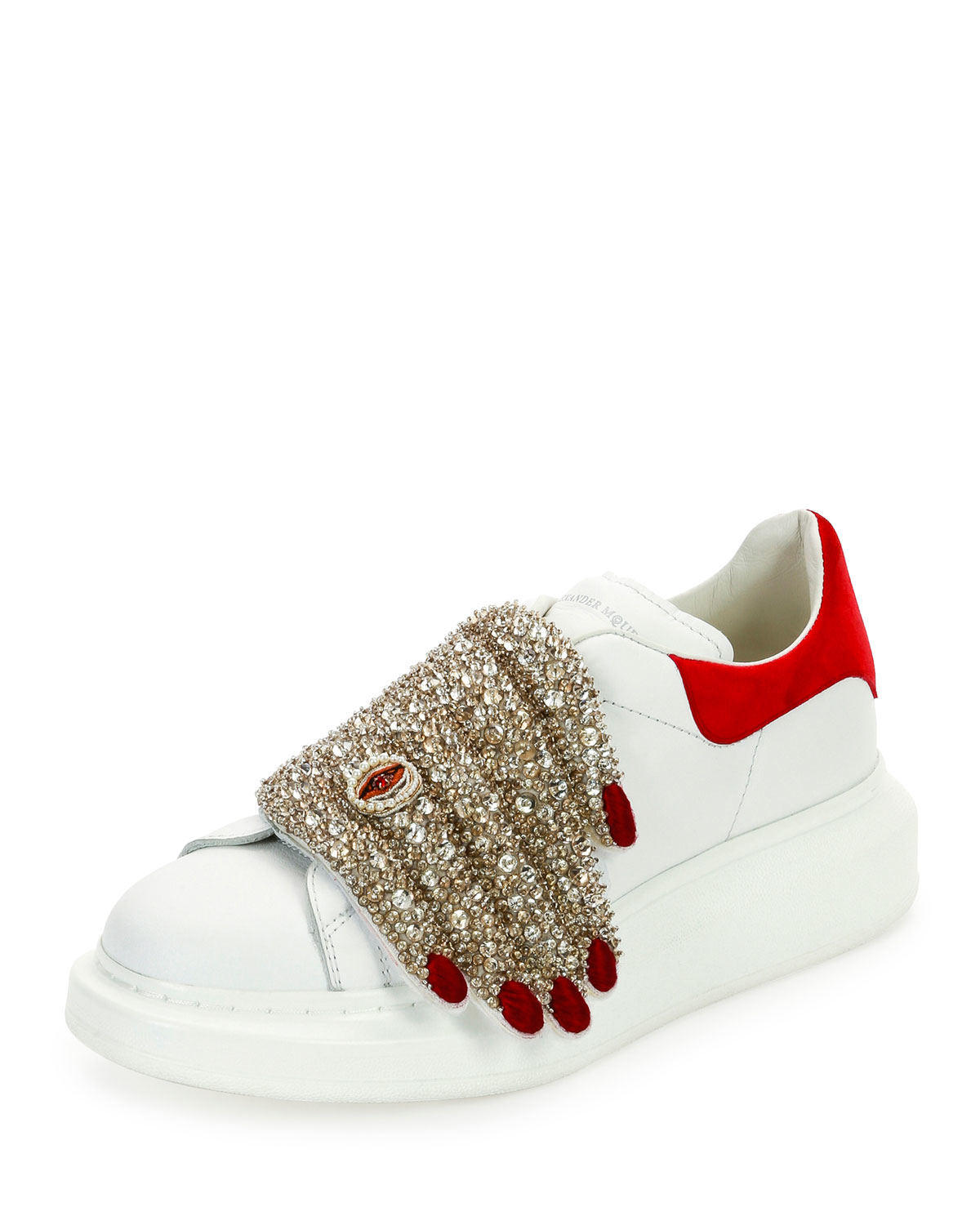 lyst alexander mcqueen flat leather sneaker w jeweled hand. Black Bedroom Furniture Sets. Home Design Ideas
