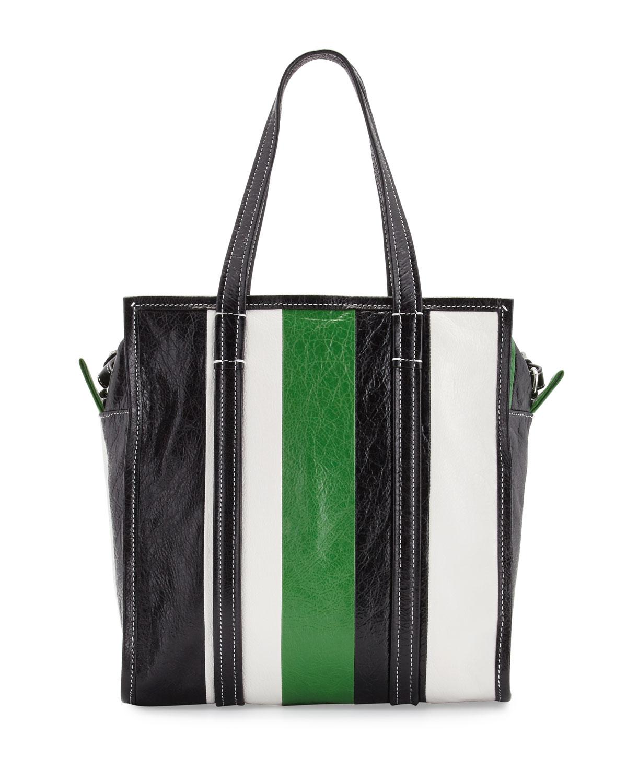 Lyst - Balenciaga Bazar Small Striped Leather Shopper Tote Bag in Green 99dbd0958a1a5