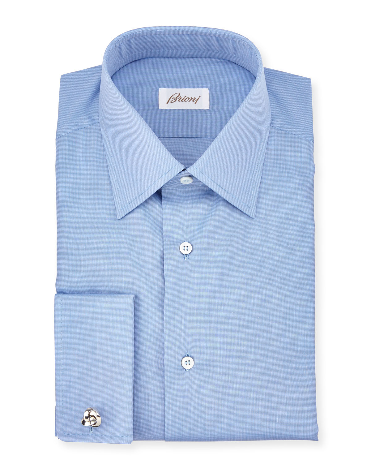 Brioni end on end french cuff dress shirt in blue for men for Cuff shirts for men