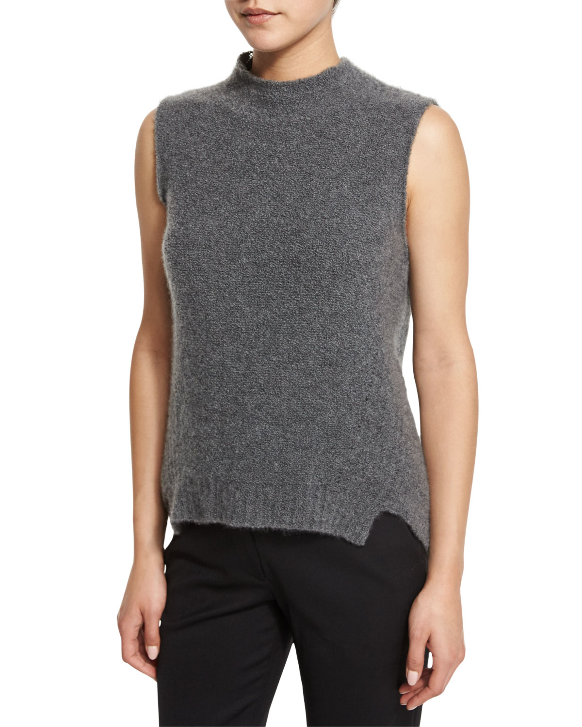 Milly Sleeveless Mock Neck Cashmere Blend Vest In Gray