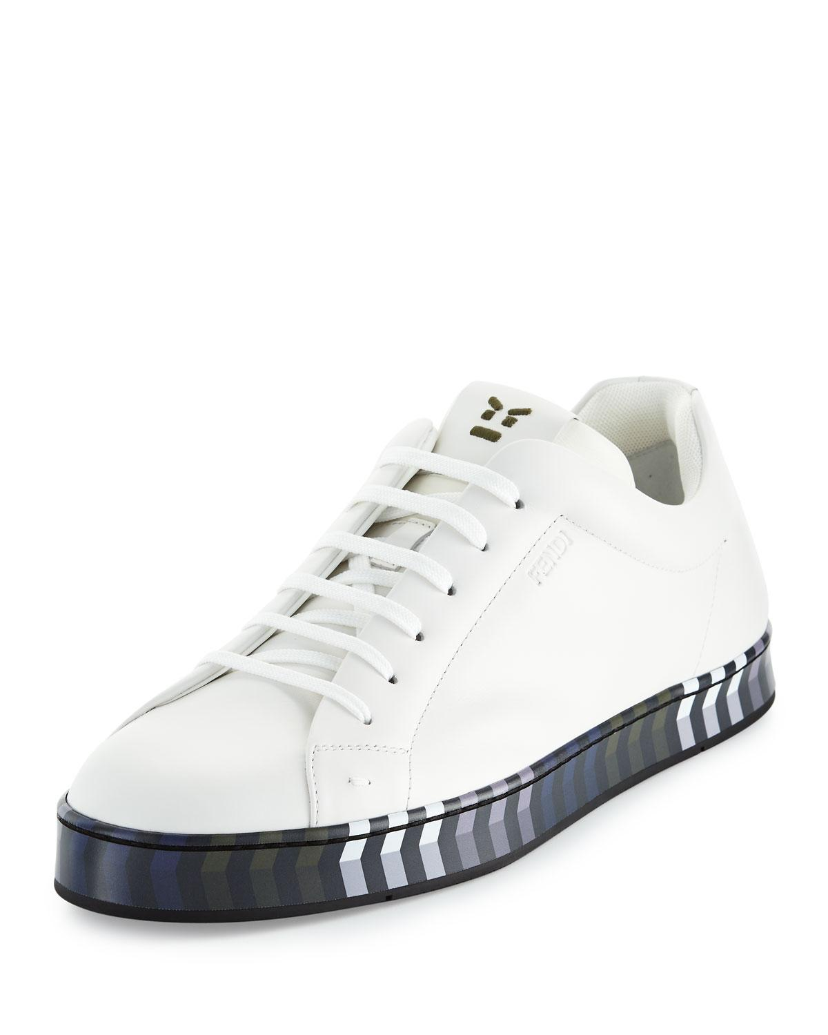 bc36c5450273d3 Lyst - Fendi Leather Low-top Sneaker W chevron Outsole in White for Men