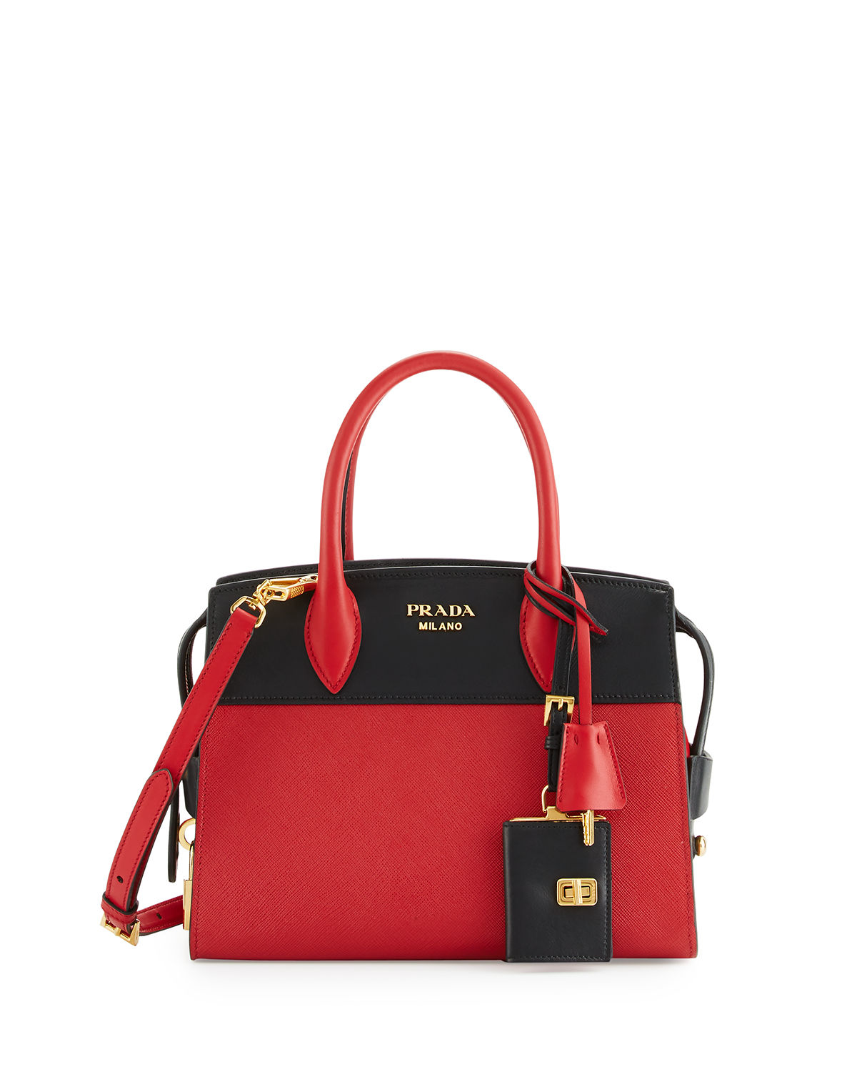 new styles e1a38 ce6de Prada Red Esplanade Medium Bicolor City Satchel Bag