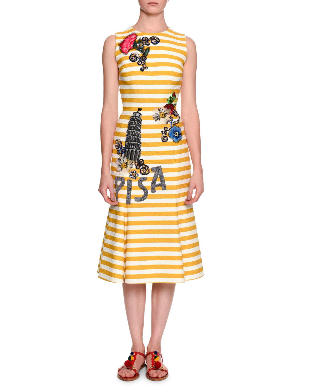 Lyst Dolce Amp Gabbana Pisa Sleeveless Striped Stretch