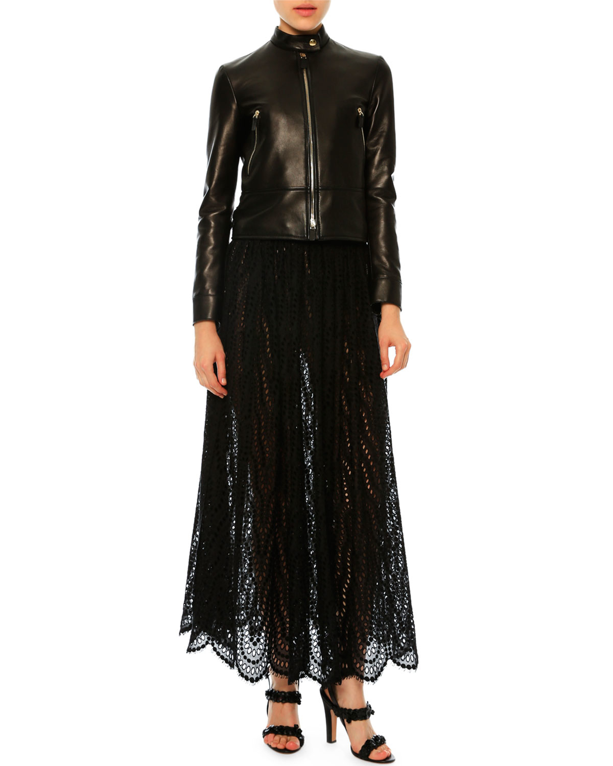 valentino high waist scalloped lace skirt in black lyst
