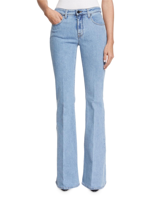 victoria victoria beckham high waist flare leg jeans in blue denim lyst. Black Bedroom Furniture Sets. Home Design Ideas