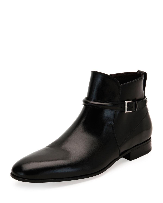 Ferragamo Freud Buckle Strap Ankle Boot In Black For Men