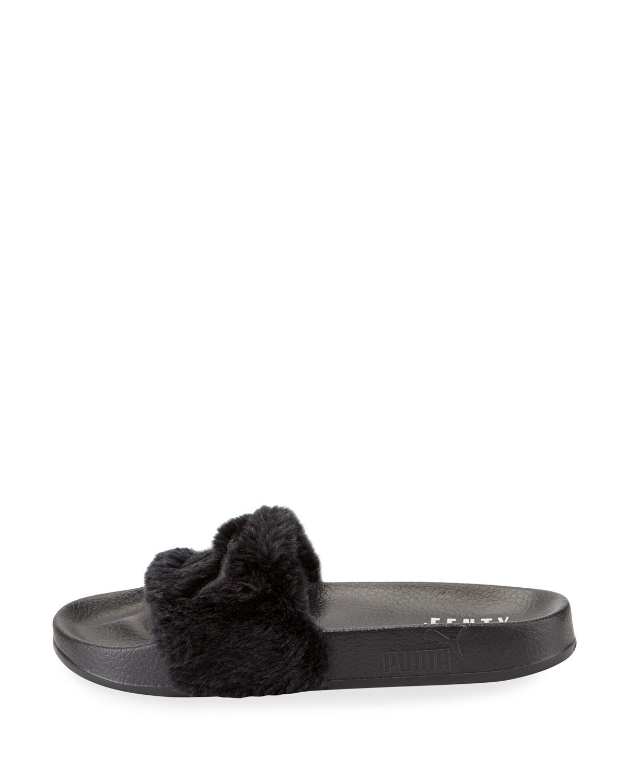puma fenty leadcat faux fur slide sandals in black lyst. Black Bedroom Furniture Sets. Home Design Ideas