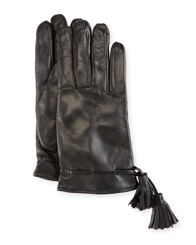 Imoni Leather Tassel Gloves in Black