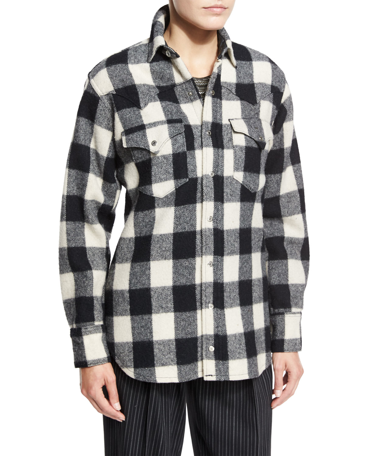 Pink pony buffalo check flannel shirt in black lyst for Buffalo check flannel shirt jacket