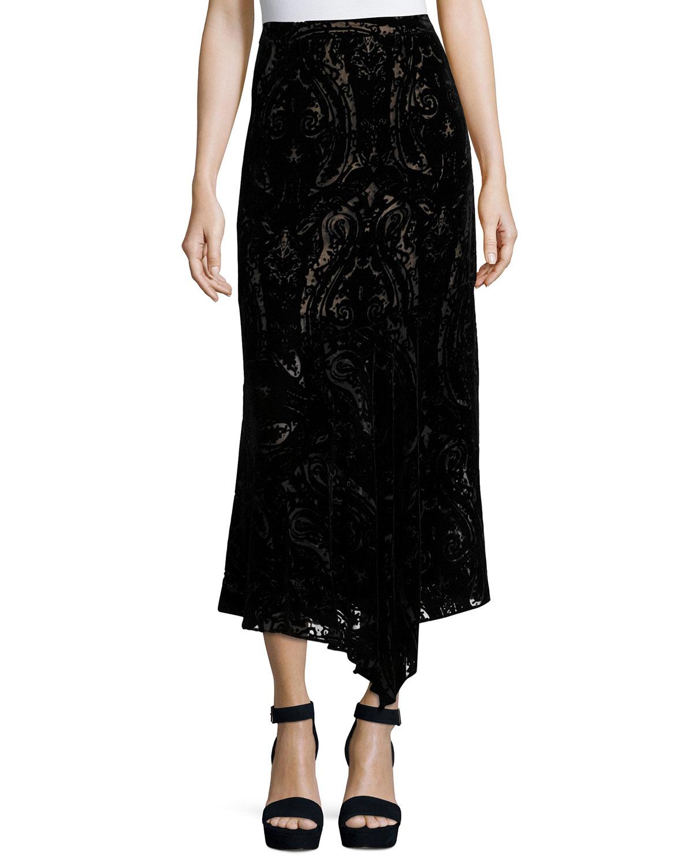 nanette lepore velvet paisley midi skirt in black lyst