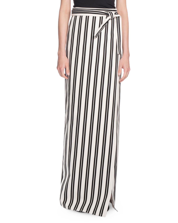 balenciaga striped maxi wrap skirt in black lyst