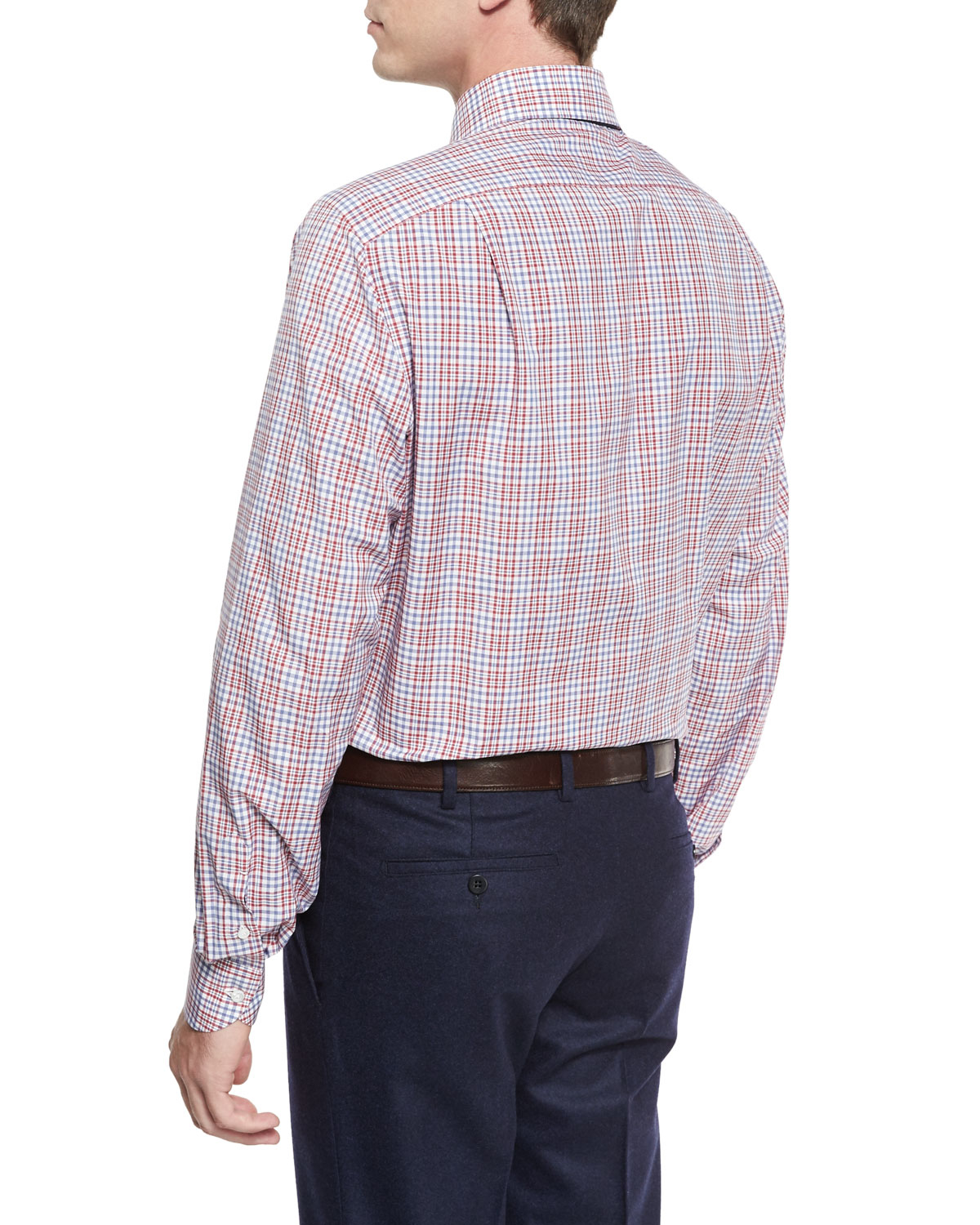 Lyst Isaia Woven Plaid Dress Shirt In Purple For Men