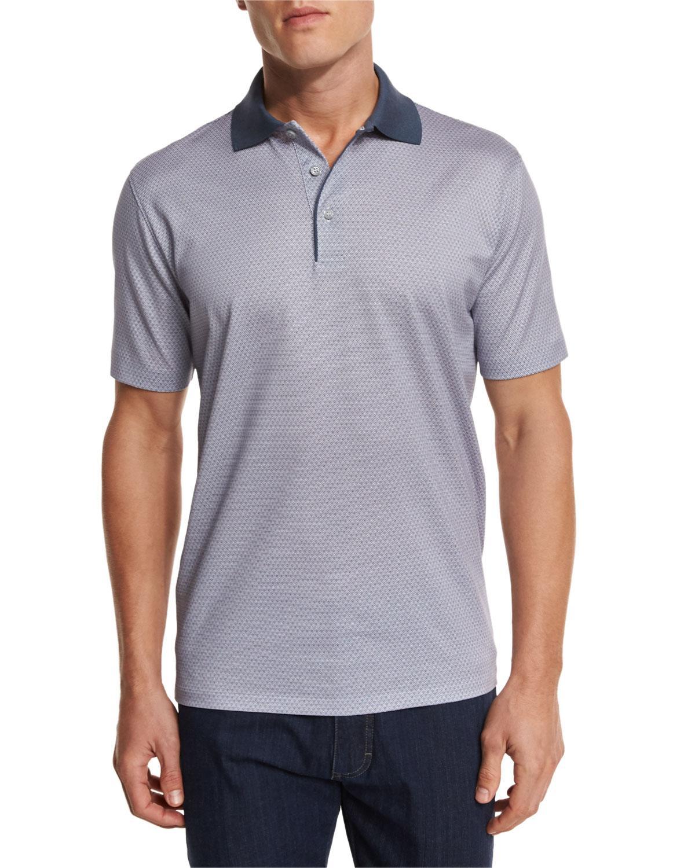 Ermenegildo zegna bubble print polo shirt in gray for men for Zegna polo shirts sale