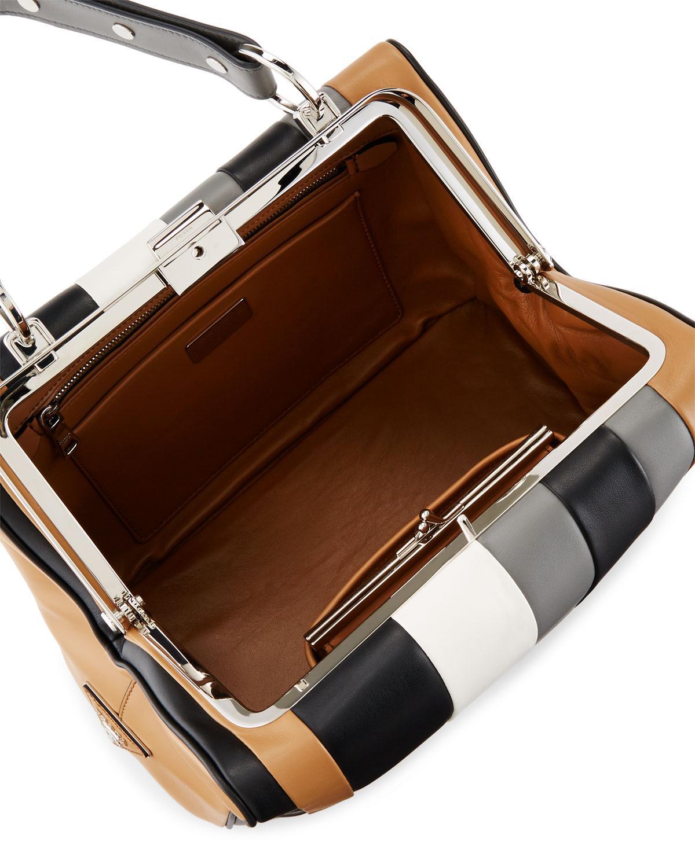 3dc1bca19dcc69 Prada Baiadera Striped Leather Satchel Bag in Gray - Lyst