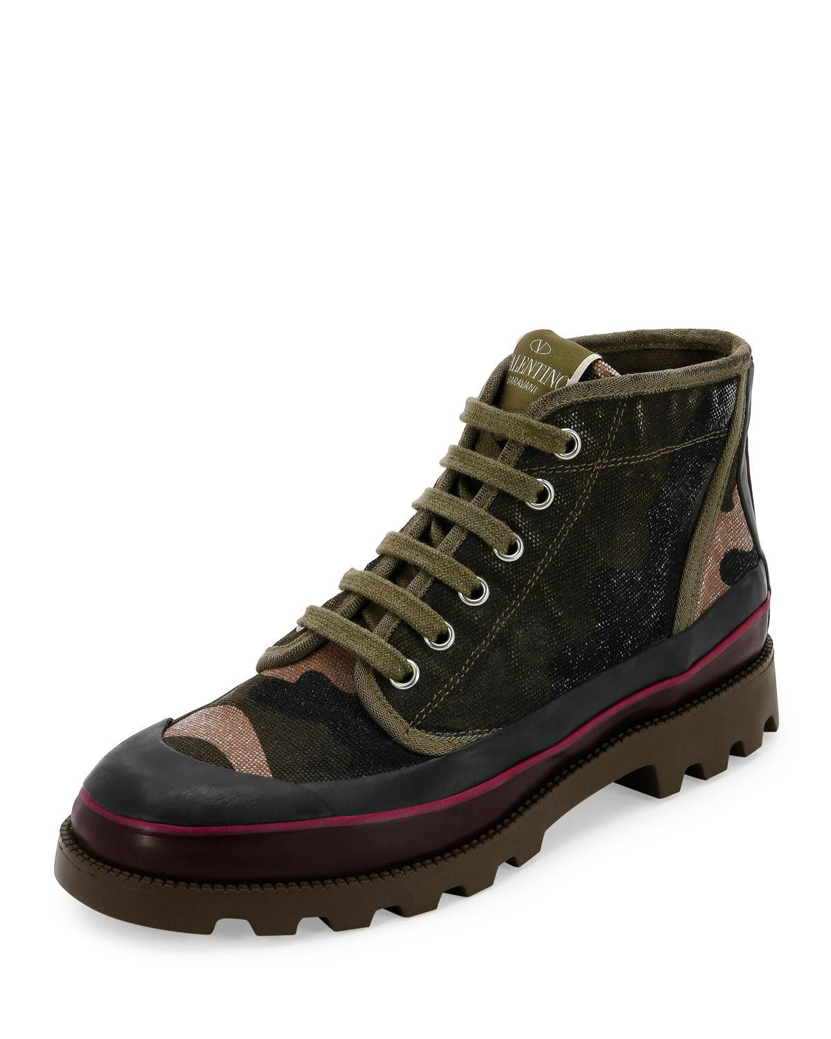 valentino camouflage canvas high top sneaker in green for men lyst. Black Bedroom Furniture Sets. Home Design Ideas