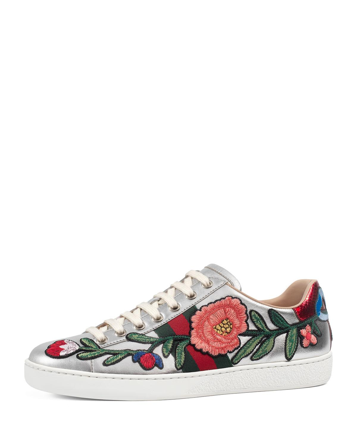 Gucci New Ace Floral Leather Sneaker In Metallic Lyst