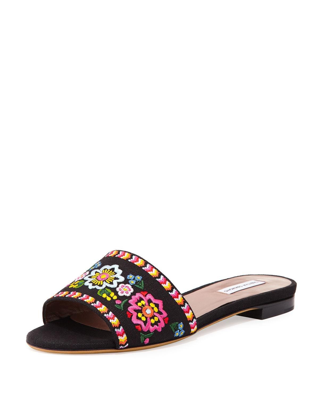 Lyst Tabitha Simmons Sprinkles Embroidered Slide Sandal