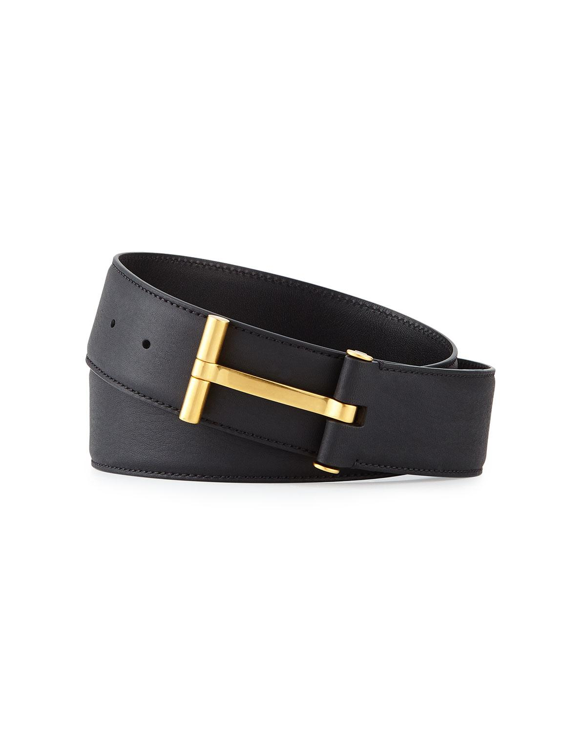 tom ford t buckle calf leather belt in black lyst