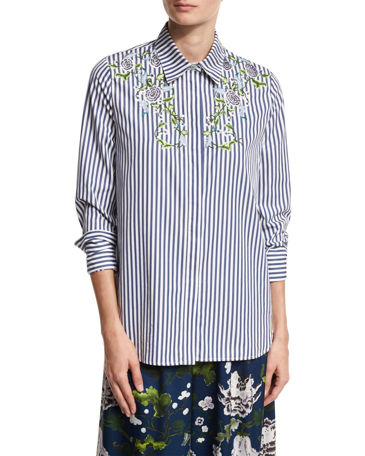 Adam lippes floral embroidered striped cotton shirt in for Adam lippes women s long sleeve vee t shirt