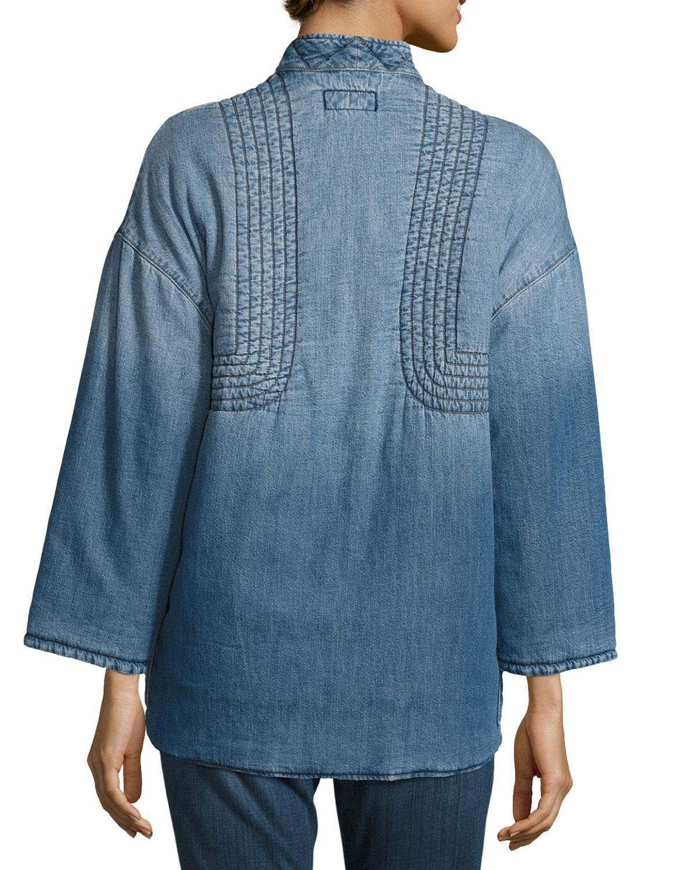 Lyst Current Elliott The Kimono Denim Car Coat In Blue