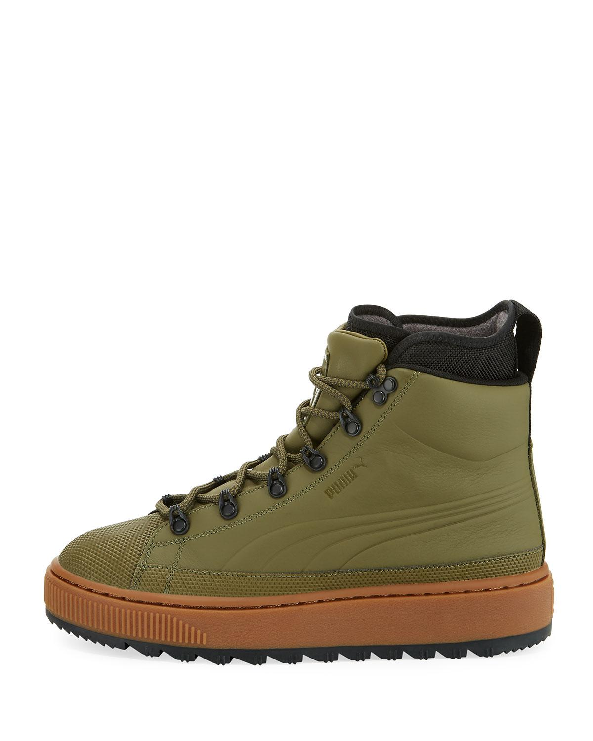 Lyst Puma The Ren Leather Hiking Boot In Green For Men