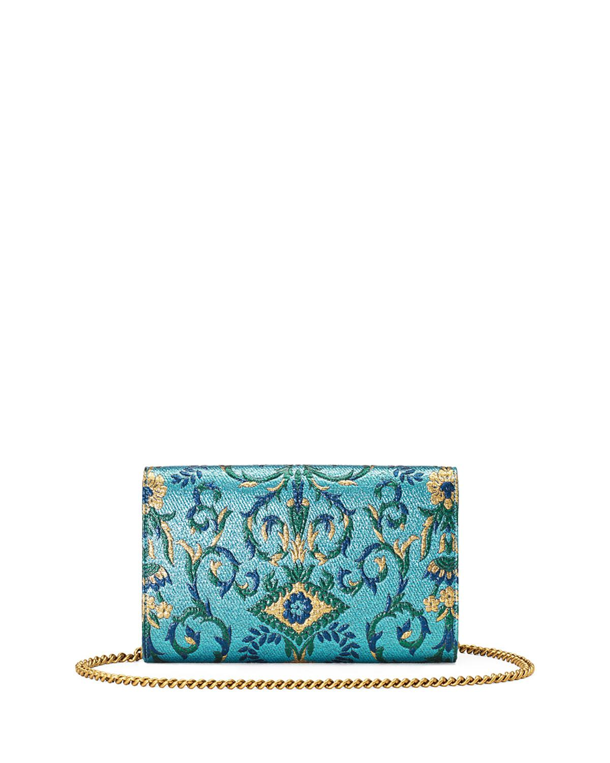 9f6527d7d9ed7d Gucci Broadway Brocade Clutch Bag in Blue - Lyst Gucci Yellow Bright  Diamante Leather ...