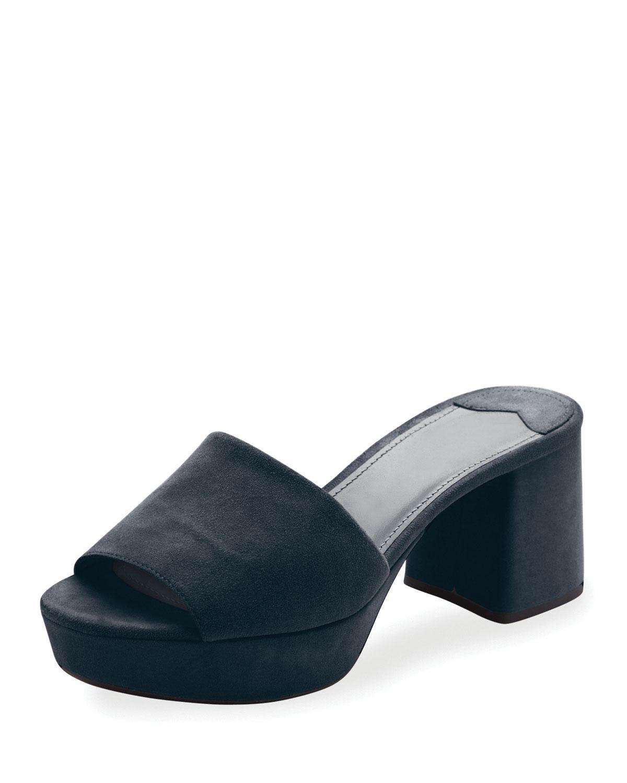 daebe14dfe8f Prada Suede Platform Sandals Blue