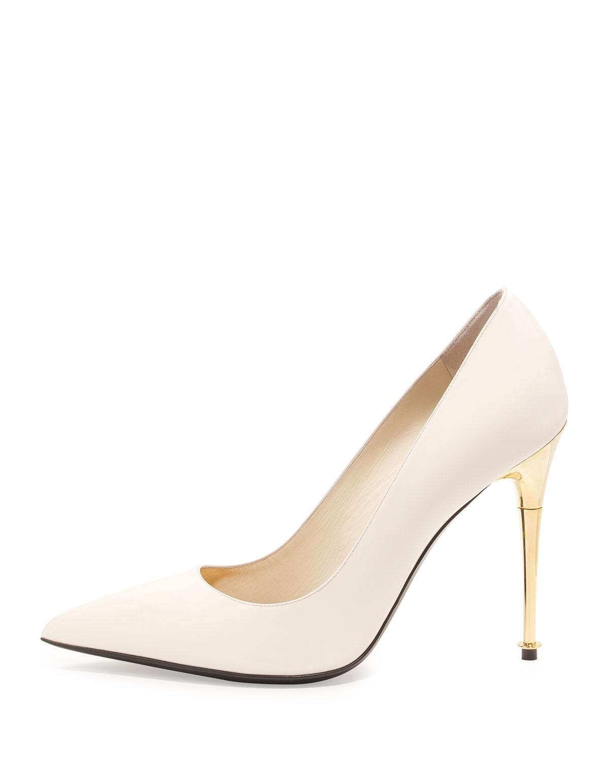 Tom Ford Leather Patent 105mm Pin heel Pump in Chalk (White