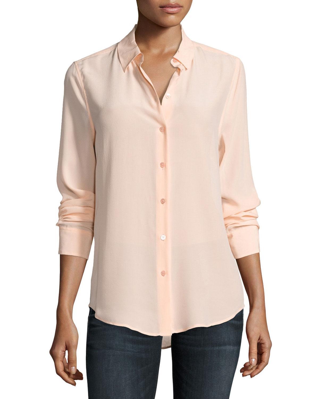 Equipment essential long sleeve silk shirt lyst for Silk long sleeve shirt