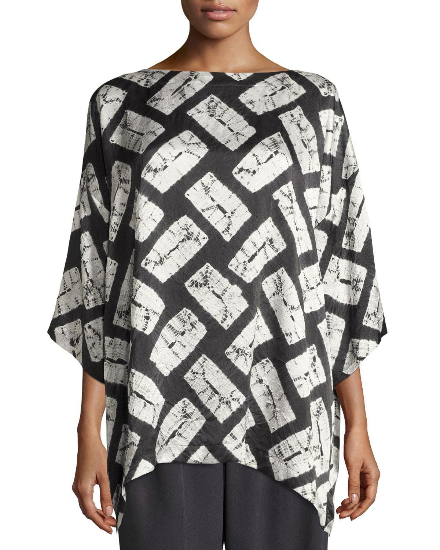 Eskandar rectangular shibori silk t shirt in gray lyst for Diamond and silk t shirts