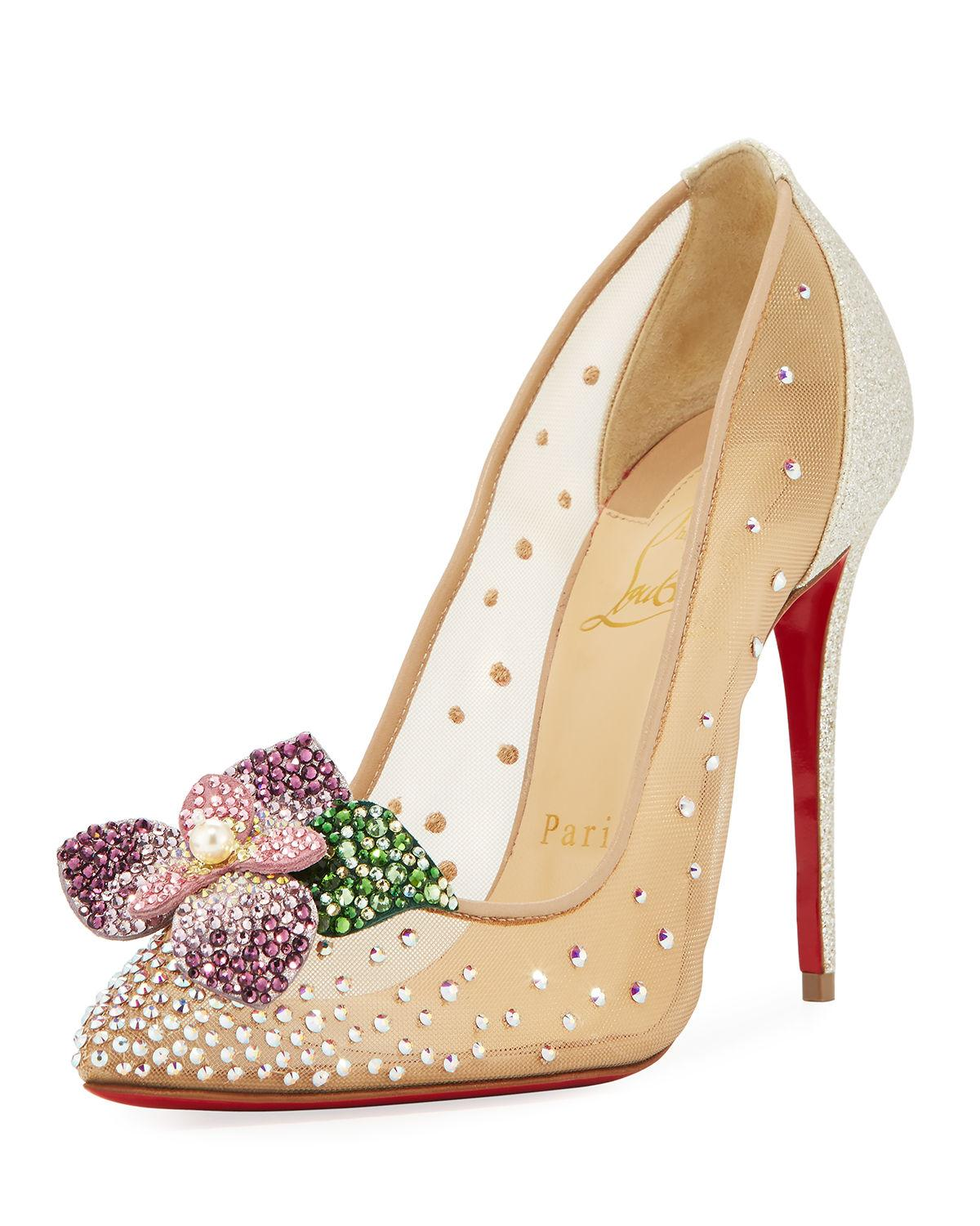 9d0fc27fdc3 Lyst - Christian Louboutin Feerica Crystal-embellished Red .