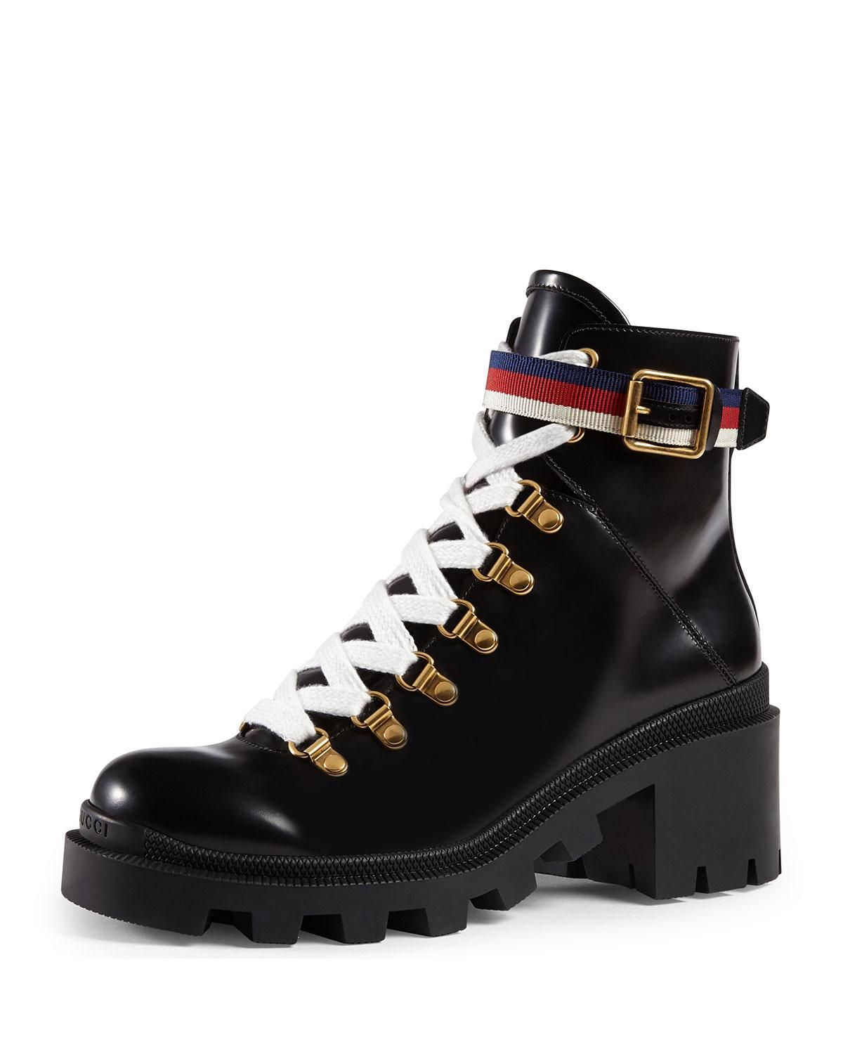 Gucci Trip Leather Combat Boot in Red