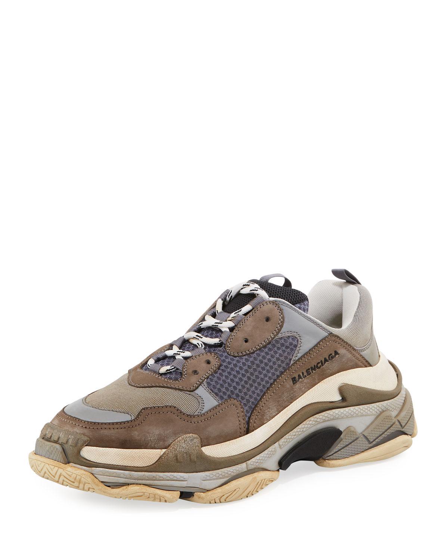 Balenciaga Triple S Mesh  U0026 Leather Trainer Sneaker In Grey