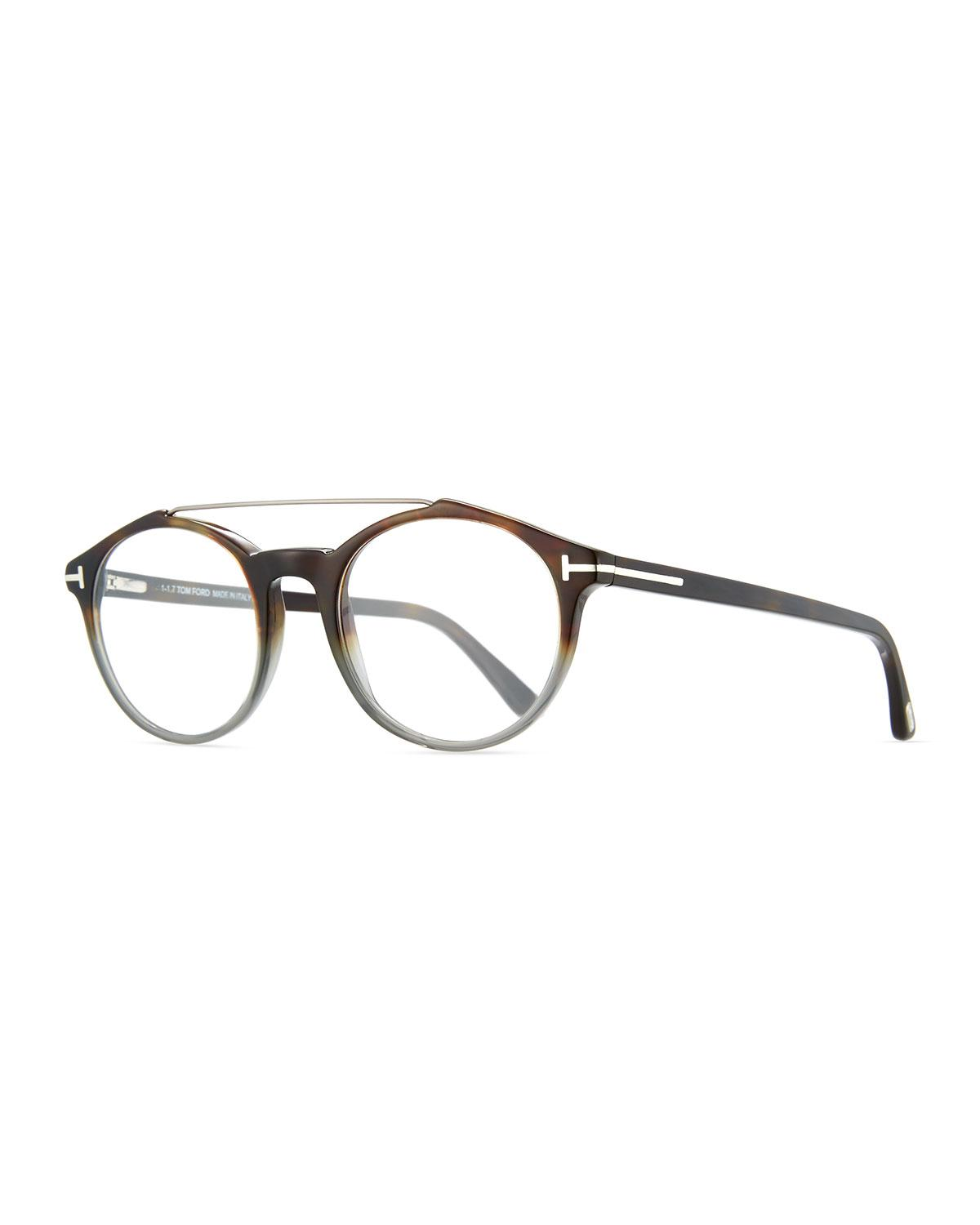c2f846624ad Lyst - Tom Ford Round Acetate Optical Frames With Brow Bar in Gray