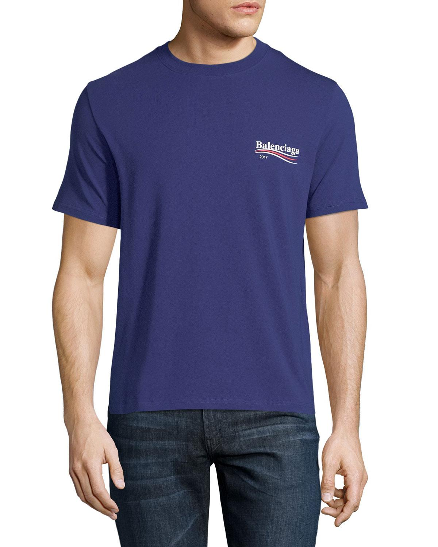 5a72702e4 Balenciaga Short-sleeve Campaign Logo T-shirt in Blue for Men - Lyst