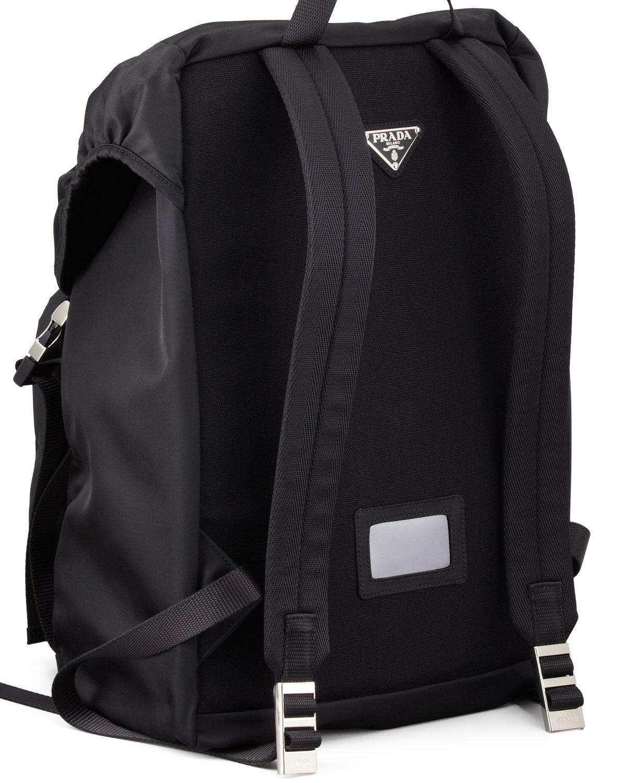 Prada Men S Nylon Double Buckle Backpack In Black For Men
