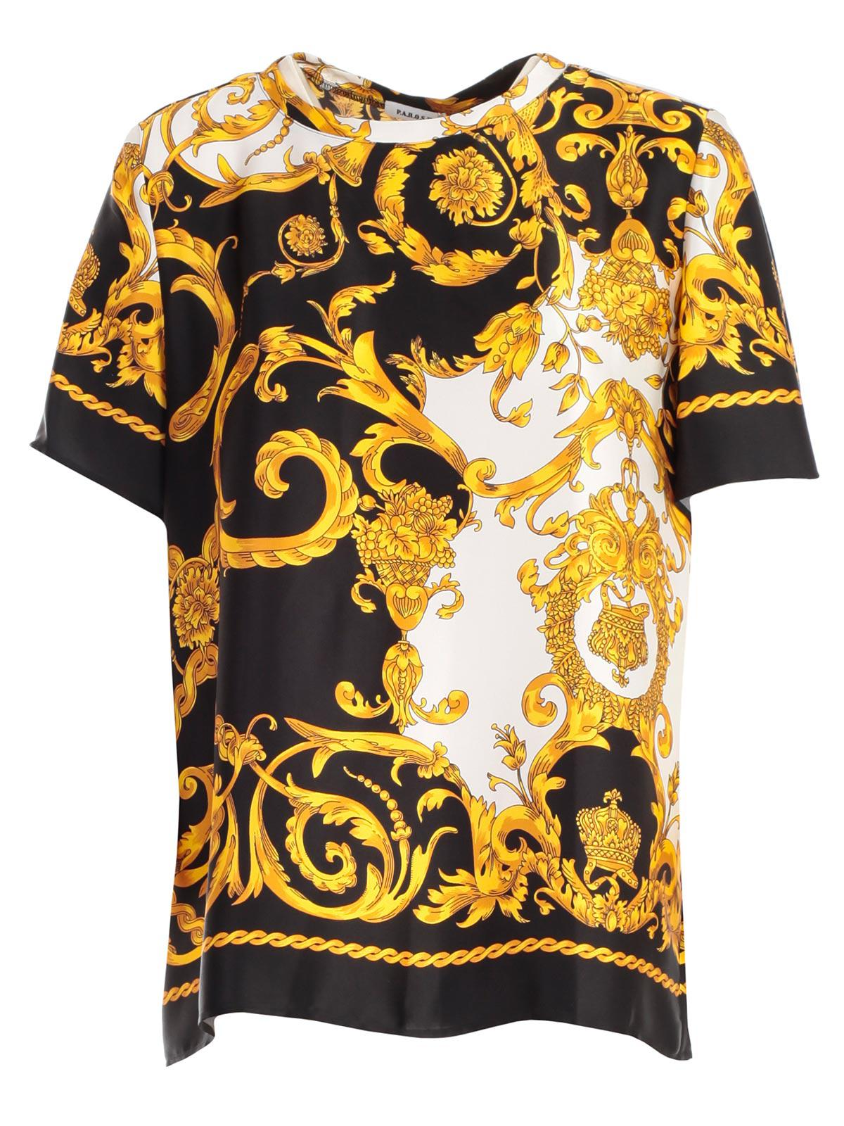 aff1c1eb P.A.R.O.S.H. Shirt Silk Printed Baroque in Yellow - Lyst